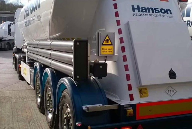 Hanson Cement lorry fitted with blind spot safety system